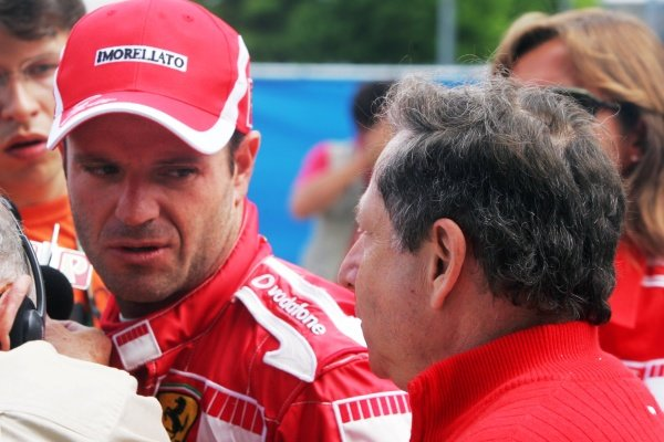 Rubens Barrichello (BRA) Ferrari F2005 with Jean Todt (FRA) Ferrari General Manager Formula One World Championship, Rd 9, United States Grand Prix, Race, Indianapolis, USA, 19 June 2005.DIGITAL IMAGE