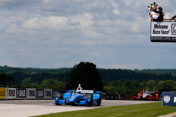 Verizon IndyCar Series Kohler Grand Prix Road America, Elkhart Lake, WI USA Sunday 25 June 2017 Scott Dixon, Chip Ganassi Racing Teams Honda takes the checkered flags World Copyright: Phillip Abbott LAT Images ref: Digital Image abbott_elkhart_0617_8173