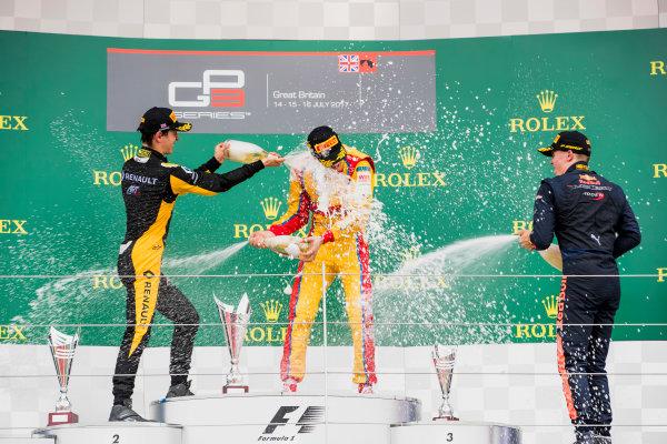 2017 GP3 Series Round 3.  Silverstone, Northamptonshire, UK. Sunday 16 July 2017. Jack Aitken (GBR, ART Grand Prix), Giuliano Alesi (FRA, Trident), Niko Kari (FIN, Arden International).  Photo: Zak Mauger/GP3 Series Media Service. ref: Digital Image _56I0247