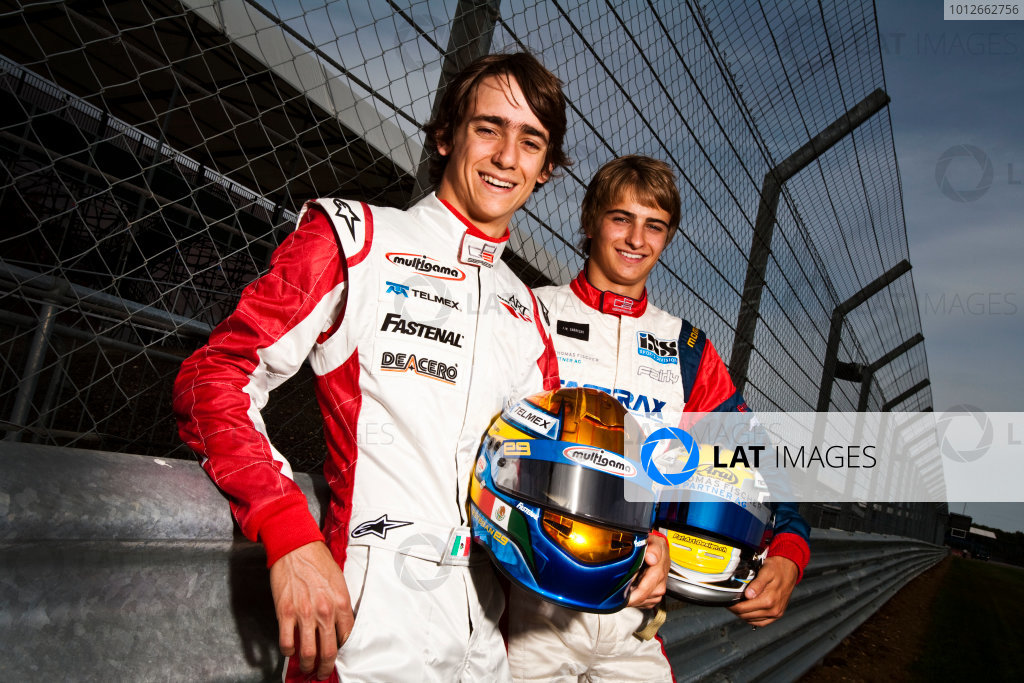 Round 4.Silverstone, England. 8th July 2010. Thursday Preview. Esteban Gutierrez, (MEX, ART Grand Prix) and Nico Muller, (Sui, Jenzer Motorsport), winners of races 5 and 6 in the GP3 series in Valencia.Portrait. World Copyright: Drew Gibson/LAT PhotographicDigital Image _Y2Z7262