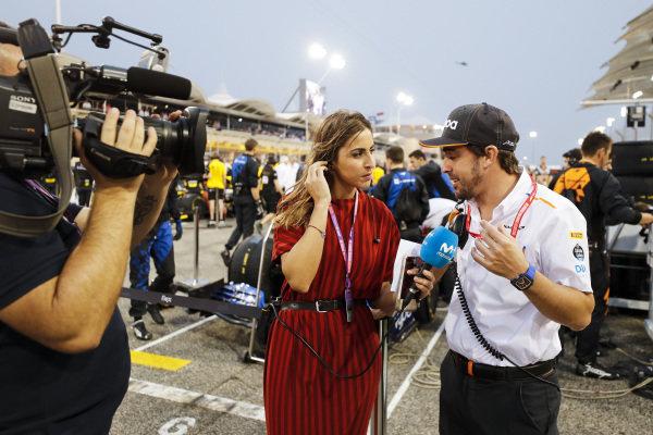 Fernando Alonso, McLaren speak with the media on the grid