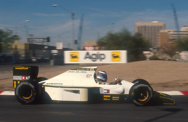 1991 United States Grand Prix.Phoenix, Arizona, U.S A.8-10 March 1991.Mika Hakkinen (Lotus 102B Judd). He exited the race when a broken union caused a fire on his Grand Prix debut.Ref-91 USA 26.World Copyright - LAT Photographic