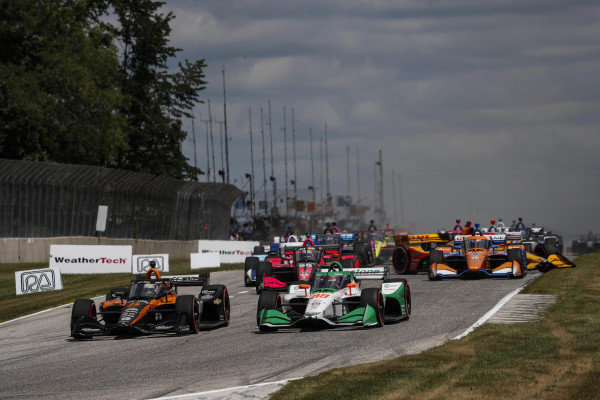 #5: Pato O'Ward, Arrow McLaren SP Chevrolet, #88: Colton Herta, Andretti Harding Steinbrenner Autosport Honda, start, #28: Ryan Hunter-Reay, Andretti Autosport Honda, crash