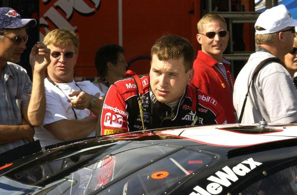 2002 NASCAR,New Hampshire Intl. Speedway,Sept 13-15, 2002 NASCAR, Loudon,NH . USA -Ryan Newman pushing his car towards inspection, Copyright-Robt LeSieur2002LAT Photographic