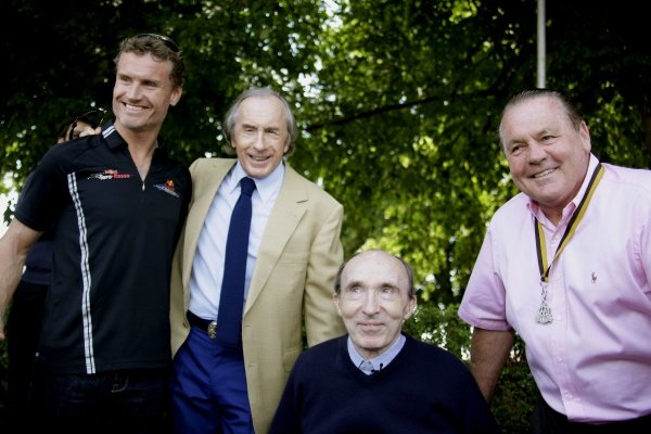 L-R: David Coulthard (GBR), Sir Jackie Stewart (GBR), Frank Williams (GBR) and Alan Jones (AUS).
