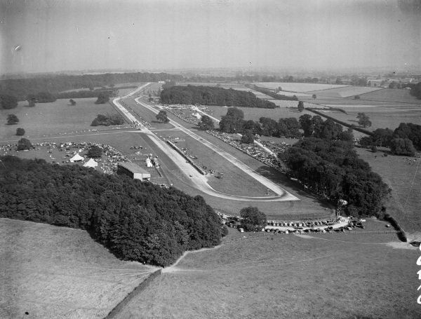 A view of racing on track taken from the air.