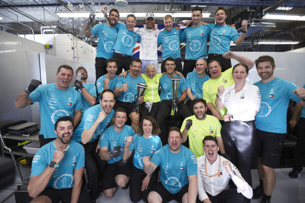 Lewis Hamilton, Mercedes AMG F1, celebrates winning the world championship with colleagues