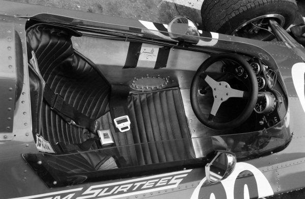 The cockpit of John Surtees' Surtees TS7 Ford.