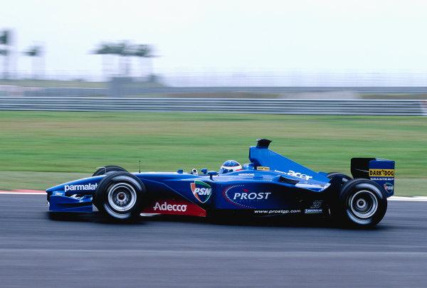 2001 Malaysian Grand Prix.Sepang, Kuala Lumpar, Malaysia. 16-18 March 2001.Gaston Mazzacane (Prost AP04 Acer).Ref-01 MAL 50.World Copyright - Clive Rose/LAT Photographic