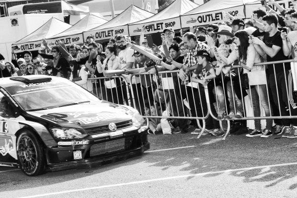 Andreas Mikkelsen (NOR) / Ola Floene (NOR) Volkswagen Polo R WRC at FIA World Rally Championship, Rd12, RAAC Rally de Espana, Day Three, Costa Daurada, Catalunya, Spain, 25 October 2015.