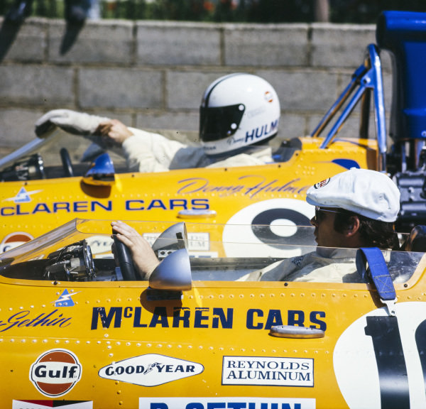 Peter Gethin sits in his McLaren M19A Ford alongside teammate Denny Hulme in the sister car.