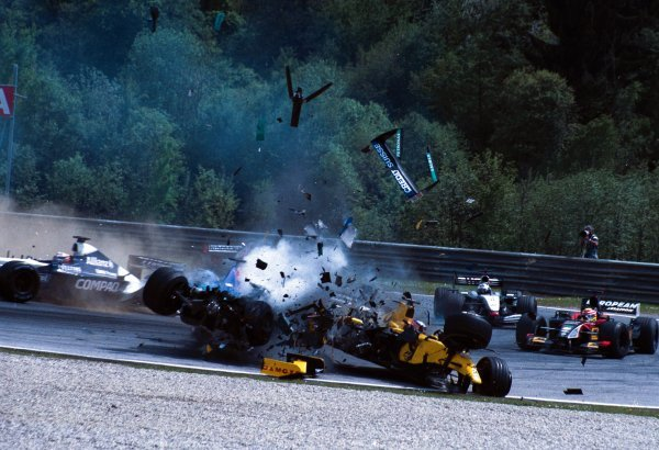 Nick Heidfeld (GER) Sauber Petronas C21 loses control of his car and careers backwards into the side of the Jordan Honda EJ12 of Takuma Sato (JPN). Formula One World Championship, Rd6, Austrian Grand Prix, A1-Ring, Austria. 12 May 2002. DIGITAL IMAGE BEST IMAGE