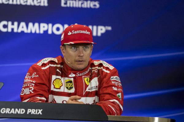 Kimi Raikkonen (FIN) Ferrari in the Press Conference at Formula One World Championship, Rd17, United States Grand Prix, Race, Circuit of the Americas, Austin, Texas, USA, Sunday 22 October 2017.