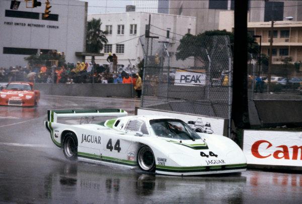Miami, Florida, USA. 27th February 1983. Rd 2. Bob Tullius, (Group 44 Jaguar XJR-5), 5th position, action. World Copyright: LAT Photographic