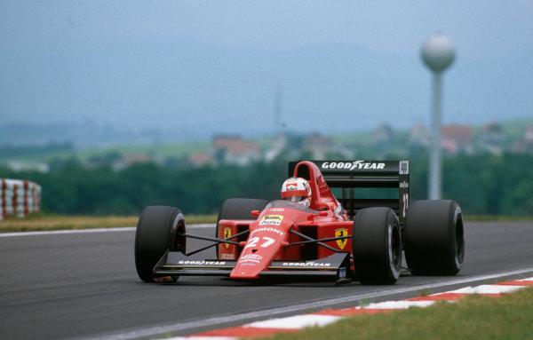 Hungaroring, Hungary. 11th - 13th August 1989.Nigel Mansell (Ferrari 640) 1st position, action.World Copyright: LAT Photographic