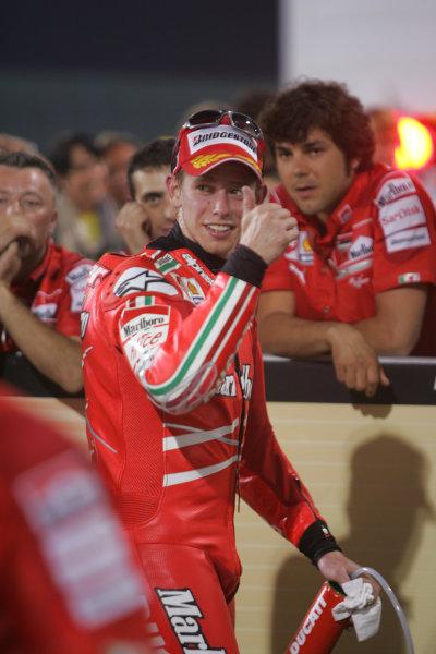 Qatar, Losail International Circuit.10th - 13th April 2009.Casey Stoner Marlboro Ducati Team in parc ferme.World Copyright: Martin Heath/LAT Photographicref: Digital Image BPI_Moto 7o5o