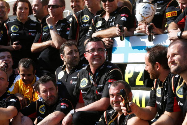 Hungaroring, Budapest, Hungary 28th July 2013 Eric Boullier, Team Principal, Lotus F1, and the Lotus F1 team celebrate 2nd place for Kimi Raikkonen, Lotus F1 World Copyright: Charles Coates/LAT Photographic ref: Digital Image _N7T4043
