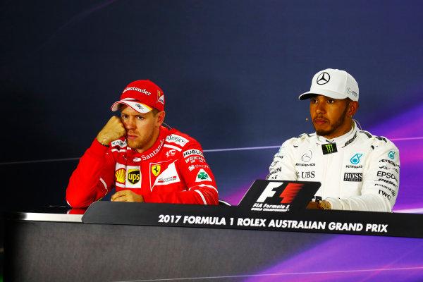 Albert Park, Melbourne, Australia. Saturday 25 March 2017. Sebastian Vettel, Ferrari, and Lewis Hamilton, Mercedes AMG, in the post qualifying press conference. World Copyright: Sam Bloxham/LAT Images ref: Digital Image _J6I3558