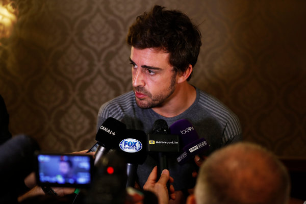 Bahrain International Circuit, Sakhir, Bahrain.  Wednesday 12 April 2017. Fernando Alonso talks to the media after announcing his deal to race in the 2017 Indianapolis 500 in an Andretti Autosport run McLaren Honda car. World Copyright: Glenn Dunbar/LAT Images ref: Digital Image _31I6973