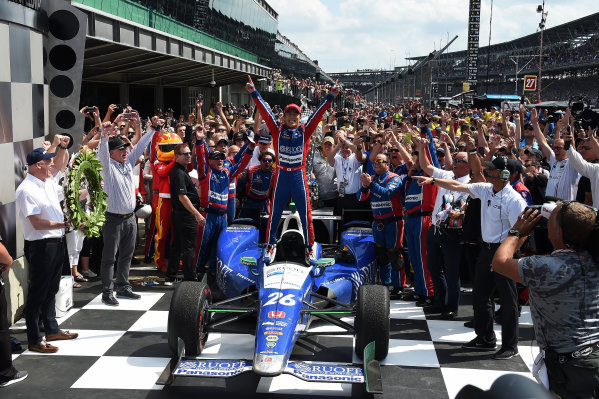 Verizon IndyCar Series Indianapolis 500 Race Indianapolis Motor Speedway, Indianapolis, IN USA Sunday 28 May 2017 Race winner Takuma Sato (JPN) Andretti Autosport Honda celebrates in Victory Lane World Copyright: Jose Rubio/Sutton/LAT Images ref: Digital Image dcd1728my1058