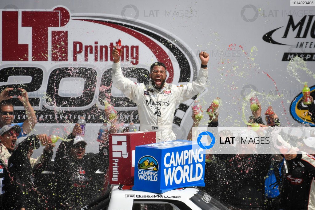 NASCAR Camping World Truck Series LTI Printing 200 Michigan International Speedway, Brooklyn, MI USA Saturday 12 August 2017 Darrell Wallace Jr, Maestro's Classic Chevrolet Silverado celebrates in victory lane World Copyright: Logan Whitton LAT Images