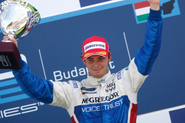 Hungaroring, Budapest, Hungary. 26th July 2009.Sunday Race.Giedo  Van der Garde (NED, iSport International) celebrates his victory on the podium. World Copyright: Andrew Ferraro / GP2 Series Media Service.Ref: _H0Y8468 jpg