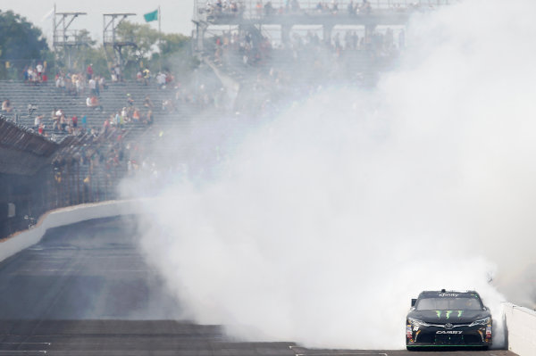 24-25 July, 2015, Indianapolis, Indiana USA Kyle Busch, Monster Energy Toyota Camry celebrates winning the Lilly's Diabetes 250 ©2015, Brett Moist LAT Photo USA