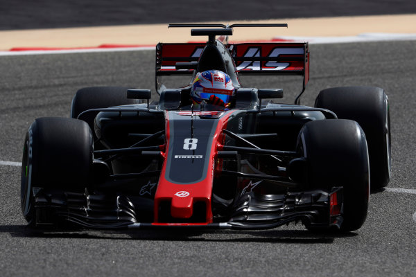 Bahrain International Circuit, Sakhir, Bahrain.  Tuesday 18 April 2017. Romain Grosjean, Haas VF-17. World Copyright: Glenn Dunbar/LAT Images ref: Digital Image _X4I1951