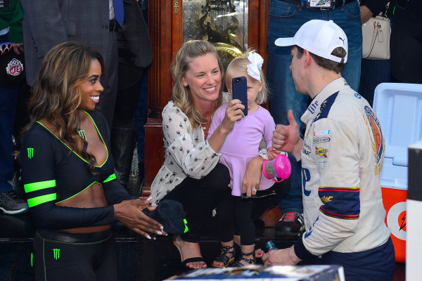 2017 Monster Energy NASCAR Cup Series STP 500 Martinsville Speedway, Martinsville, VA USA Sunday 2 April 2017 Brad, Paige, and Scarlett Keselowski celebrate in victory lane  World Copyright: Logan Whitton/LAT Images ref: Digital Image 17MART1LW2727