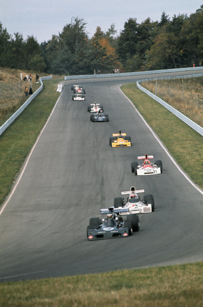 1973 United States Grand Prix.  Watkins Glen, New York, USA. 5-7th October 1973.  Jean-Pierre Jarier, March 731 Ford, leads John Watson, Brabham BT42 Ford, and Niki Lauda, BRM P160E.  Ref: 73USA02. World copyright: LAT Photographic