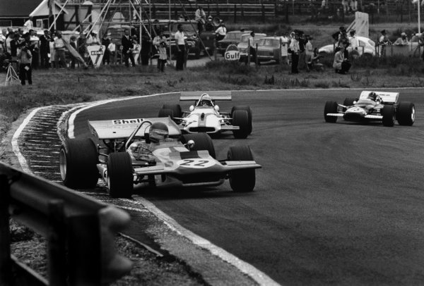 Zandvoort, Holland. 19 - 21 June 1970.Ronnie Peterson (March 701-Ford), 9th position, leads George Eaton (BRM P153), retired and Graham Hill (Lotus 49C-Ford), Not Classified, action. World Copyright: LAT Photographic.Ref:  L70 - 613 - 13A.