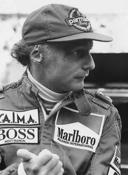 Zolder, Belgium. 27th - 29th April 1984. Niki Lauda (McLaren MP4/2 TAG Porsche), retired, portrait. World Copyright: LAT Photographic. Ref: B/W Print.
