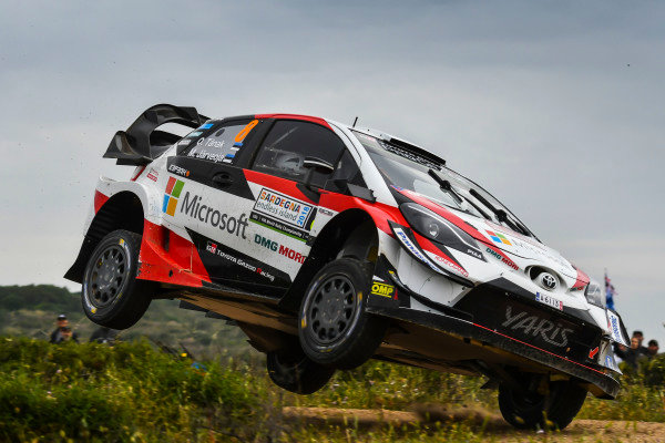 Ott Tanak on a charge on Rally d'Italia Sardinia