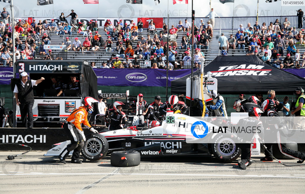 5 June, 2016, Detroit, Michigan USA Helio Castroneves Pit Stop ©2016, Maria W. Grady LAT Photo USA