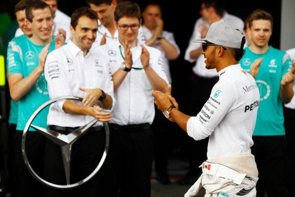 Hockenheim, Germany. Sunday 31 July 2016. Lewis Hamilton, Mercedes AMG, 1st Position, and the Mercedes team celebrate victory. World Copyright: Andrew Hone/LAT Photographic ref: Digital Image _ONY1463