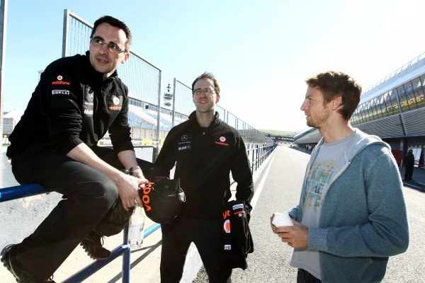 (L to R): Dave Robson (GBR) McLaren Race Engineer and Jenson Button (GBR) McLaren. Formula One Testing, Preparations, Jerez, Spain,  Monday 6 February 2012.