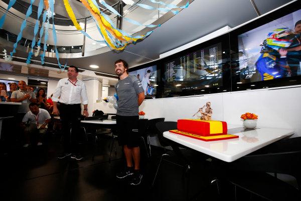 Hungaroring, Budapest, Hungary.  Saturday 29 July 2017. Fernando Alonso, McLaren, celebrates his birthday. World Copyright: Andy Hone/LAT Images  ref: Digital Image _ONZ9901