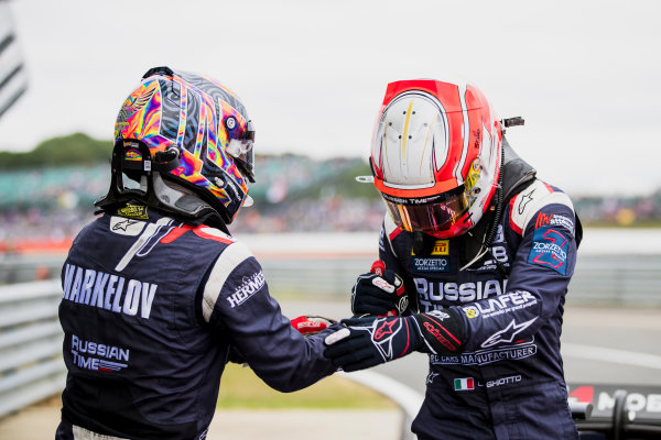 2017 FIA Formula 2 Round 6. Silverstone, Northamptonshire, UK. Sunday 16 July 2017. Luca Ghiotto (ITA, RUSSIAN TIME), Artem Markelov (RUS, RUSSIAN TIME).  Photo: Zak Mauger/FIA Formula 2. ref: Digital Image _56I0637
