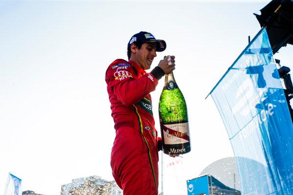 2016/2017 FIA Formula E Championship. Round 11 - Montreal ePrix, Canada Saturday 29 July 2017. Lucas Di Grassi (BRA), ABT Schaeffler Audi Sport, Spark-Abt Sportsline, ABT Schaeffler FE02 celebrates on the podium. Photo: Andrew Ferraro/LAT/Formula E ref: Digital Image _FER4547