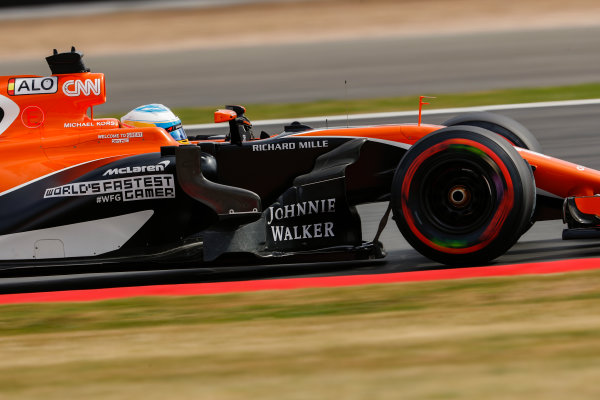 Silverstone, Northamptonshire, UK.  Friday 14 July 2017. Fernando Alonso, McLaren MCL32 Honda. World Copyright: Glenn Dunbar/LAT Images  ref: Digital Image _X4I3199