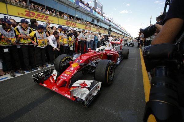 Sebastian Vettel (GER) Ferrari SF16-H celebrates in Parc ferme at Formula One World Championship, Rd1, Australian Grand Prix, Race, Albert Park, Melbourne, Australia, Sunday 20 March 2016.
