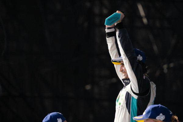 Race winner Sérgio Jimenez (BRA), ZEG iCarros Jaguar Brazil celebrates on the podium
