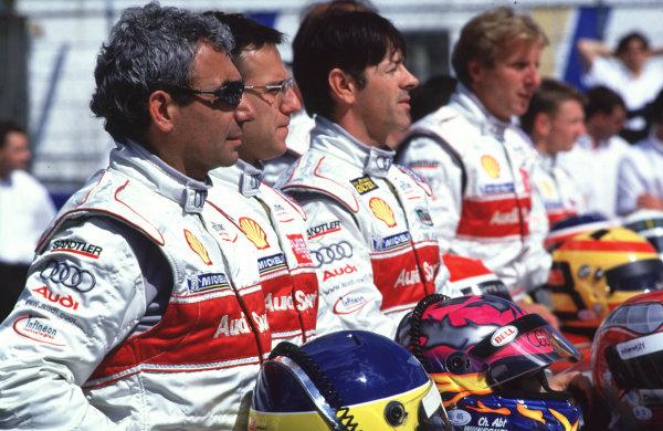 Le Mans Pre-Qualifying.Le Mans, France, 29th - 30th April 2000.The Audi R8 drivers line up. World - Bellanca/LAT PhotographicTel: +44 (0) 208 251 3000Fax: +44 (0) 208 251 3001E-mail: digital@latphoto.co uk
