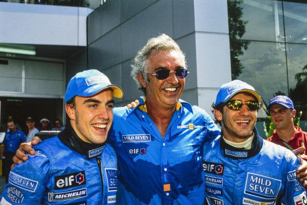 Fernando Alonso, Flavio Briatore and Jarno Trulli.