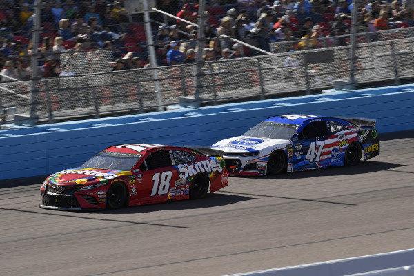#18: Kyle Busch, Joe Gibbs Racing, Toyota Camry SKITTLES and #47: Ryan Preece, JTG Daugherty Racing, Chevrolet Camaro Kroger