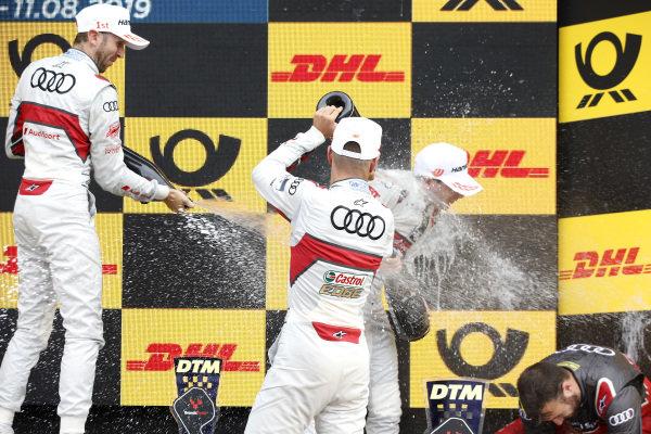 Podium: Race winner René Rast, Audi Sport Team Rosberg, second place Nico Müller, Audi Sport Team Abt Sportsline, third place Robin Frijns, Audi Sport Team Abt Sportsline.