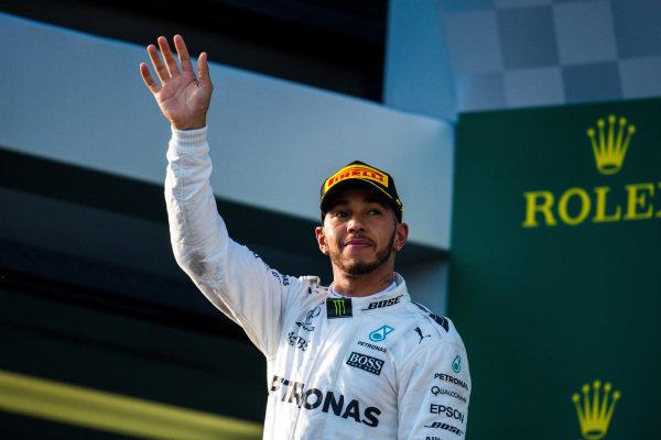 Lewis Hamilton (GBR) Mercedes AMG F1 celebrates on the podium at Formula One World Championship, Rd1, Australian Grand Prix, Race, Albert Park, Melbourne, Australia, Sunday 26 March 2017.
