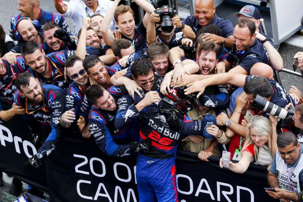 Daniil Kvyat, Toro Rosso celebrates with his team in Parc Ferme