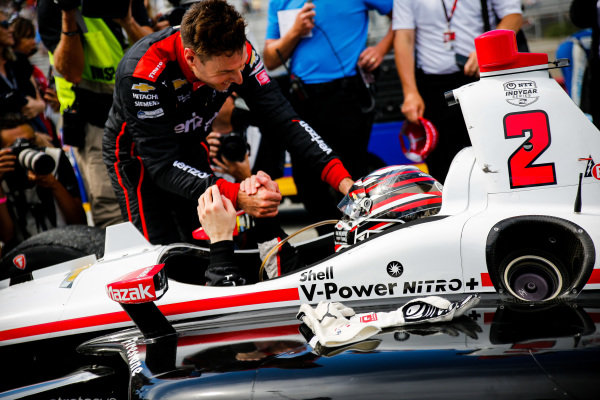 Josef Newgarden, Team Penske Chevrolet celebrates winning the NTT IndyCar championship, Will Power, Team Penske Chevrolet