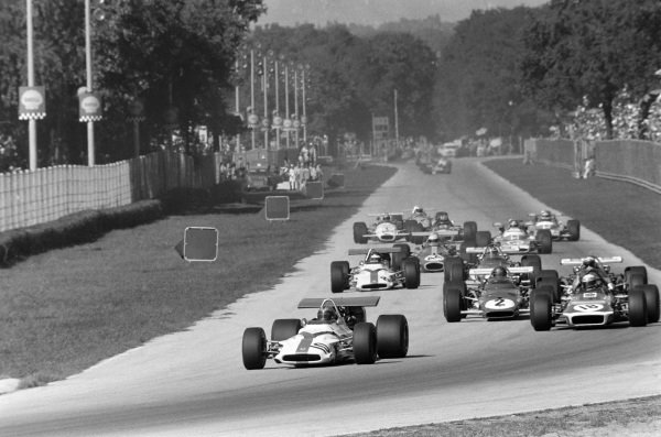 Pedro Rodriguez, BRM P153 leads Jackie Stewart, March 701 Ford and Jacky Ickx, Ferrari 312B.